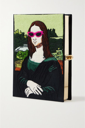 Olympia Le-Tan Mona Lisa Embroidered Appliqued Canvas Clutch - Black