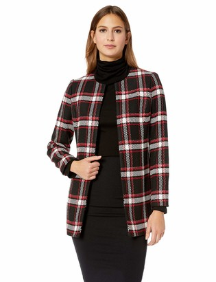 Kasper Women's Jewel Neck Plaid Twill Topper