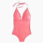 J.Crew Scalloped V-neck one-piece swimsuit in Italian matte