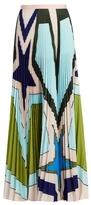 Mary Katrantzou Pelar pleated crepe de Chine maxi skirt