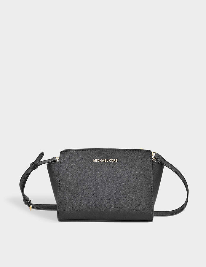 MICHAEL Michael Kors Selma Medium Messenger with Ruffles Bag in Black Saffia Leather