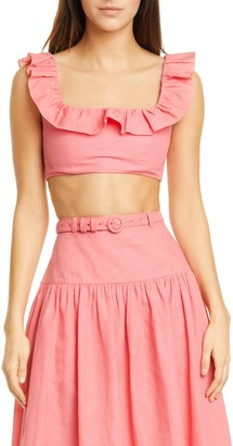 Saloni Trish Ruffle Neck Linen Blend Crop Top