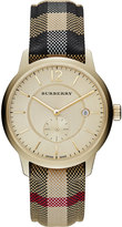 Burberry 40mm Classic Round Watch with Leather Strap, Gold