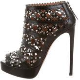 Alaia Leather Platform Booties