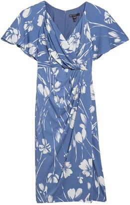 Maggy London Short Sleeve Floral Print Jersey Wrap Sheath Dress (Petite)
