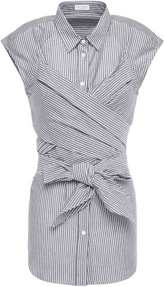 Brunello Cucinelli Crossover Striped Cotton And Silk-blend Shirt