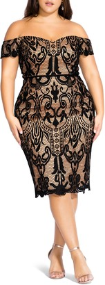 City Chic Off the Shoulder Decadent Lace Cocktail Dress