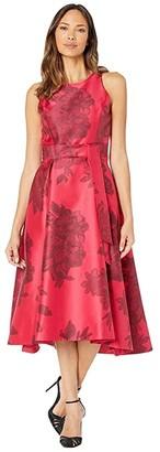 Tahari ASL Printed Jacquard Sleeveless Party Dress (Black Ruby Floral) Women's Dress