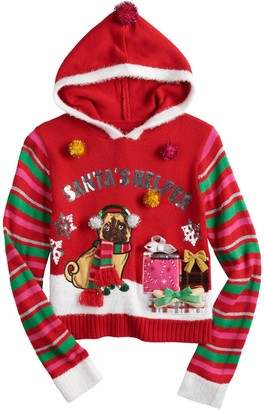 It's Our Time Girls 7-16 Christmas Pug Sweater