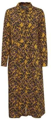 Blend She Yellow Purple Floral Print Button Through Shirtdress - XS