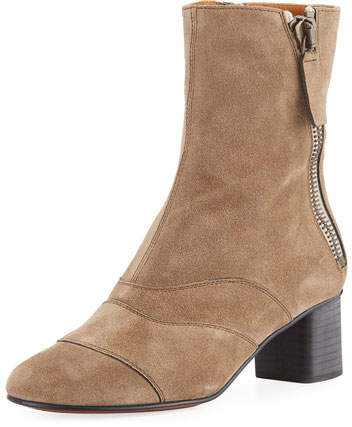 Chloé Lexie Short 30mm Boot, Dark Beige