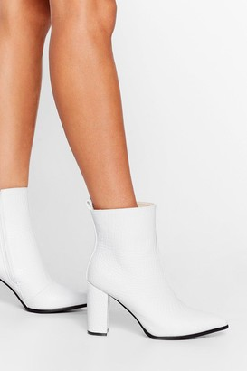 Nasty Gal Womens Croc and Stare Faux Leather Heeled Boots - White