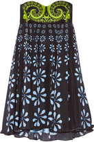Holly Fulton Nusch Embellished Wool-twill And Printed Silk Crepe De Chine Mini Dress - Black
