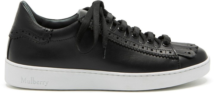 Mulberry Jump Fringe Sneaker Black Smooth Calf