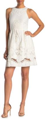 Reiss Peaches and Cream Lace Fit & Flare Dress