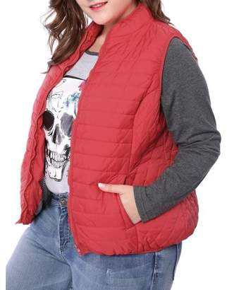 Unique Bargains Women Plus Size Stand Collar Zip Up Quilted Padded Vest Red