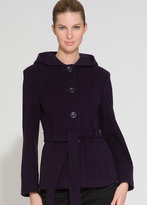 Belted Short Trapunto Coat With Hood