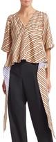 Calvin Klein Asymmetric Stripe Silk Blouse