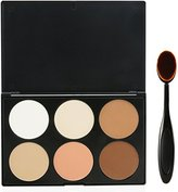 EVERMARKET Makeup Contour Kit Highlight and Bronzing Powder Palette - 6 Colors with Premium Oval Make Up Brush