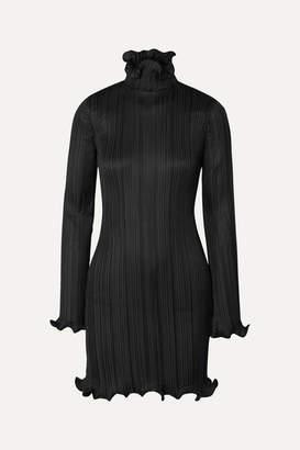 Givenchy Ruffle-trimmed Plisse-satin Mini Dress - Black