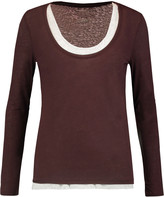 Majestic Layered cotton and cashmere-blend jersey top