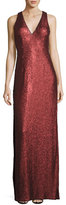 Aidan Mattox Sleeveless Sequin Column Gown, Crimson