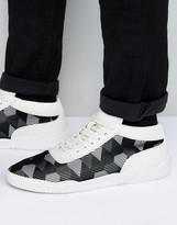 Asos High Top Sneakers in Metallic Silver With Rubber Detail