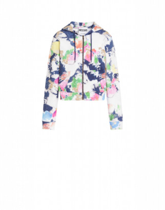 Moschino Painted And Bleached Flowers Cotton Sweatshirt Woman Multicoloured Size 38 It - (4 Us)