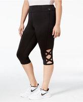 Material Girl Active Plus Size Crisscross Capri Leggings, Only at Macy's