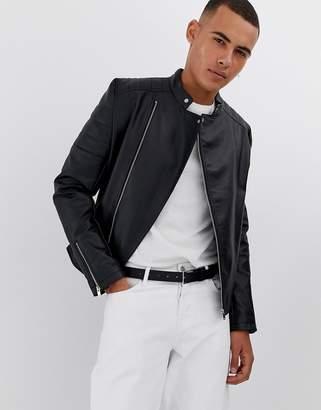 Asos Design DESIGN faux leather racer jacket in black
