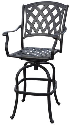 "Campton 29"" Patio Bar Stool with Cushion Fleur De Lis Living"