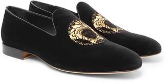 Versace Logo-Embroidered Velvet Loafers - Men