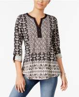 Style&Co. Style & Co Printed Roll-Tab Top, Created for Macy's