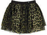 Molo Benete Leopard Tulle Skirt, Green, Size 2-12