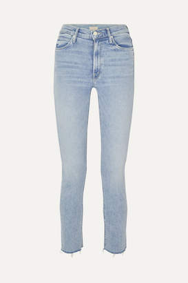 Mother The Dazzler Cropped Distressed High-rise Skinny-leg Jeans - Light denim