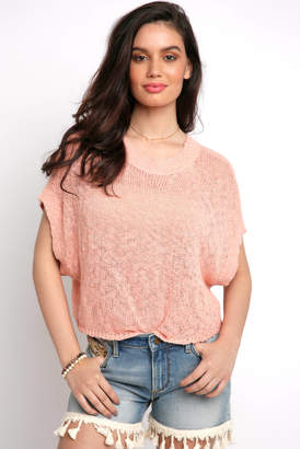 BB Dakota Short Sleeve Back Lace Sweater Top Pink M