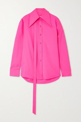 Christopher John Rogers Tie-detailed Neon Wool-blend Shirt - Bright pink
