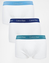 Calvin Klein Cotton Stretch Low Rise 3 Pack Trunks - White
