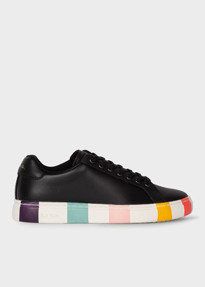 Paul Smith Women's Black Leather 'Lapin' Trainers With Striped Soles
