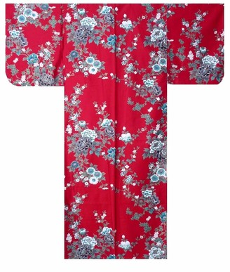 """Japan Craft Traditional & Authentic Japanese Ladies Kimono - Peony & Cherry Blossoms Design - Red Colour - 100% Cotton - Made in Kyoto Japan (Medium / 56"""" Length)"""