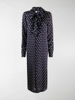 Plan C Ruffle-Trimmed Polka Dot Print Shirtdress