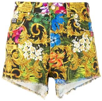 Versace floral baroque print shorts