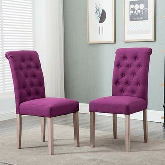 Charlton Home Tambellini Tufted Upholstered Parsons Chair in Purple