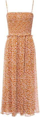 Joie Ambroise Shirred Printed Silk-chiffon Midi Dress