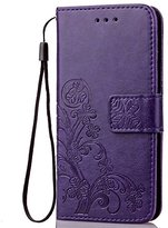 Fashion Floral Clover Embossed PU Leather Magnetic Flip Cover Card Holders & Hand Strap Wallet Purse Cover Case For Mobile Cell Phone (BLU Vivo XL (V0030UU)?)