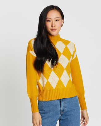 Only Beril Check High Neck Pullover Knit
