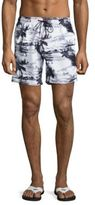 Sundek Palm Tree Printed Drawstring Board Shorts