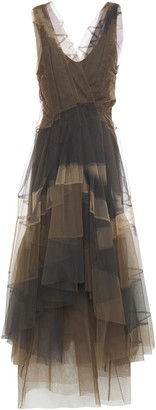 Brunello Cucinelli Asymmetric Wrap-effect Belted Pleated Tulle Midi Dress