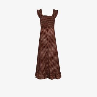 Ganni Smocked Seersucker Maxi Dress