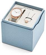 Skagen Ancher Mesh Bracelet Watch & Katrine Reversible Heart Necklace Box Set